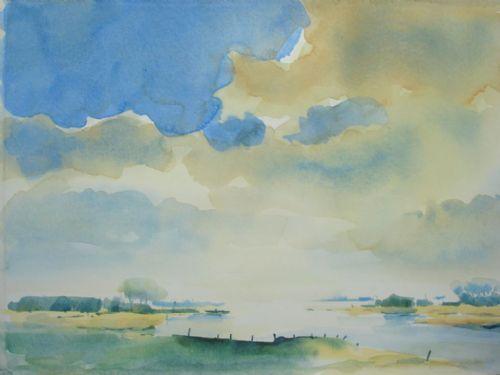 Zomers bij Olst - Sijtze Malda (aquarel)