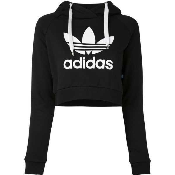 Adidas logo cropped hoodie ($61) ❤ liked on Polyvore featuring tops, hoodies, black, long sleeve crop top, long sleeve hoodies, hoodie crop top, adidas hoodies and cropped hooded sweatshirt