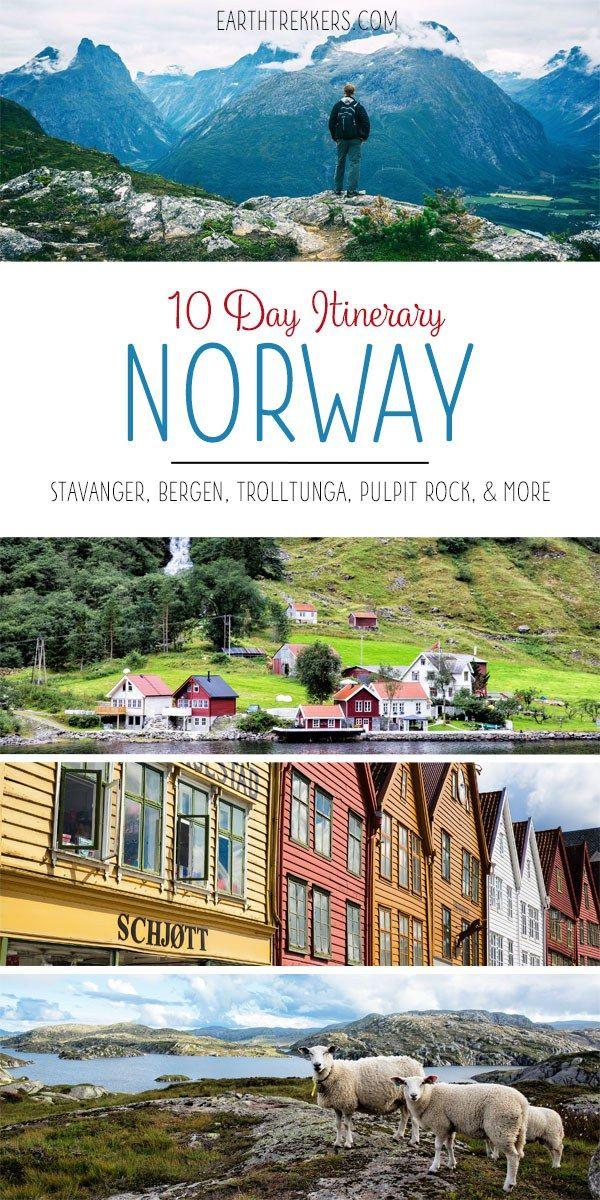 10 Days in Norway Itinerary. Hike the best places: Trolltunga, Kjeragbolten, and Pulpit Rock. Drive Trollstigen. See Geirangerfjord. Visit Oslo, Stavanger, Bergen, and Alesund.