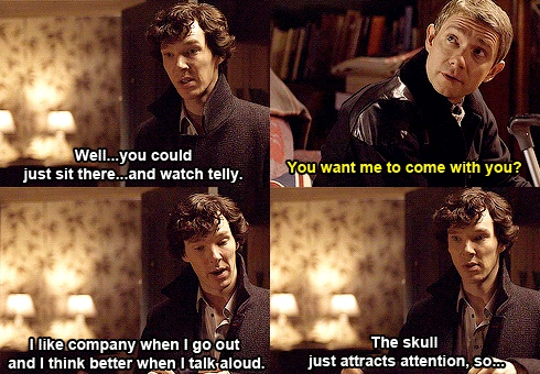 I love the image of Sherlock walking around town carrying his skull and talking to it.
