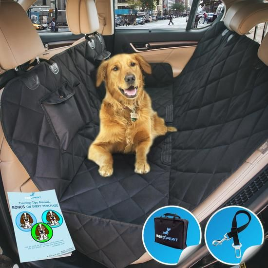 Probably the Best Dog Seat Cover, Hammock Convertible with Luxury Reinforced Quilted Panels & Extra Side Flaps + Bonus Dog Seat Belt
