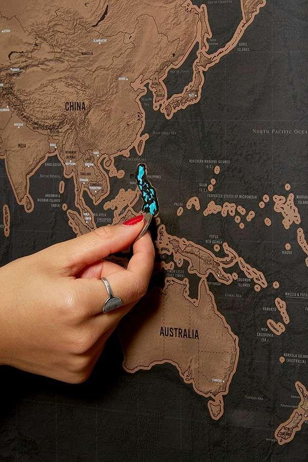 Carte A Gratter Du Monde : carte, gratter, monde, Carte, Monde, Gratter, Turquoise, Necklace,, Colorful, Mats,