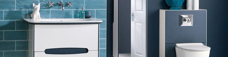 Dark blue en suite bathroom furniture from Utopia Bathrooms.
