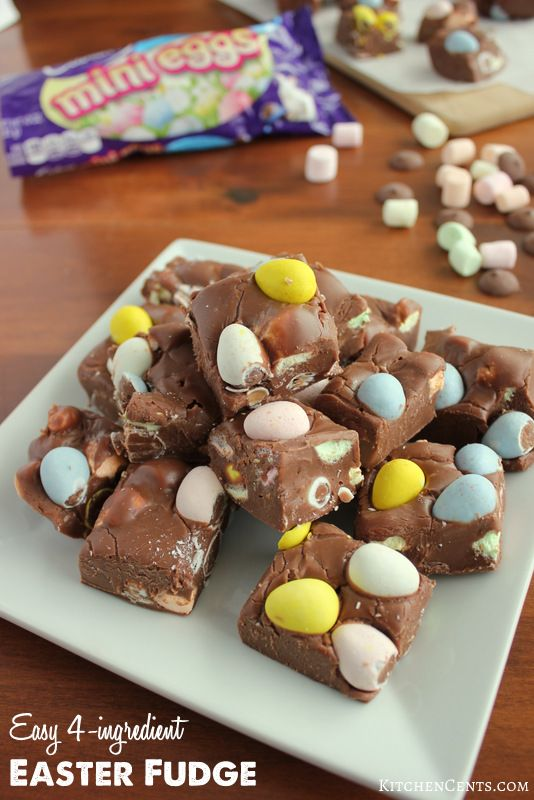 Easy 4-ingredient Easter Fudge | KitchenCents.com