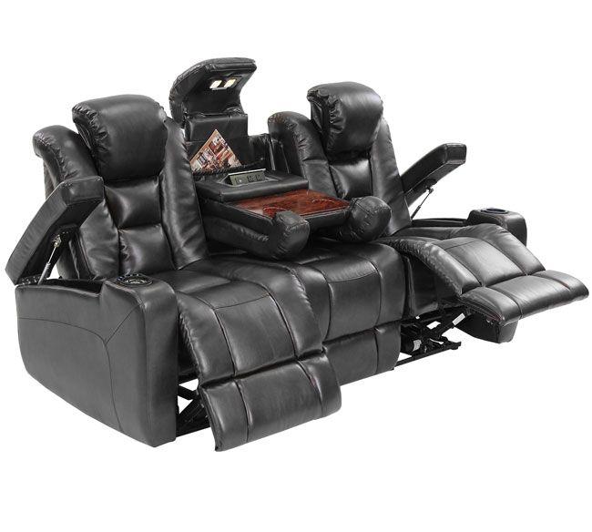 Octane Mega Multi Function Reclining Sofa in Black Bonded Leather  sc 1 st  Pinterest & 48 best Power recliner sofas images on Pinterest | Recliners ... islam-shia.org