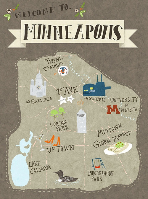 Great idea for out-of-town guests - get an artist to draw a cute map of the area attractions