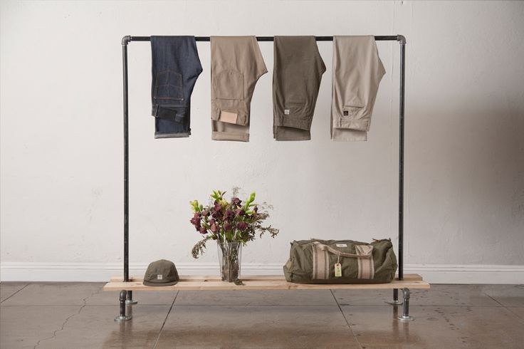 Clothes rack and shelf.