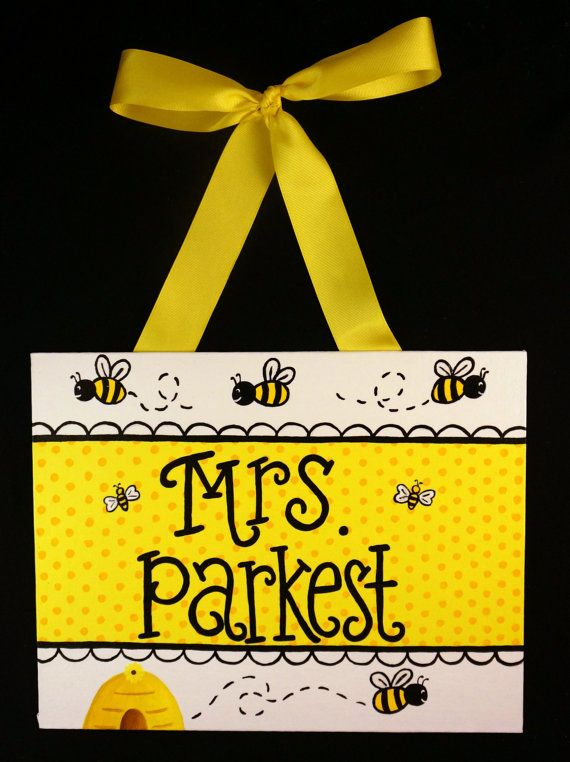 Bumble Bee Teacher Door Sign by FancyDayDesigns on Etsy