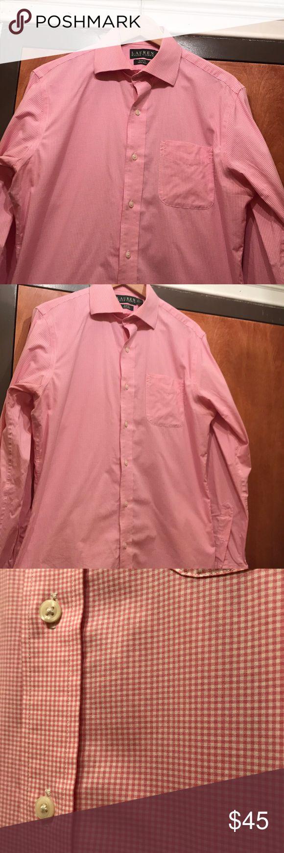 Men's Ralph Lauren Slim fit 15 1/2, 34-35 Pink checkered  Non iron Slim fit LAUREN Ralph Lauren 15 1/2, 34-35 Space under the collar for collar stays. Ralph Lauren Shirts