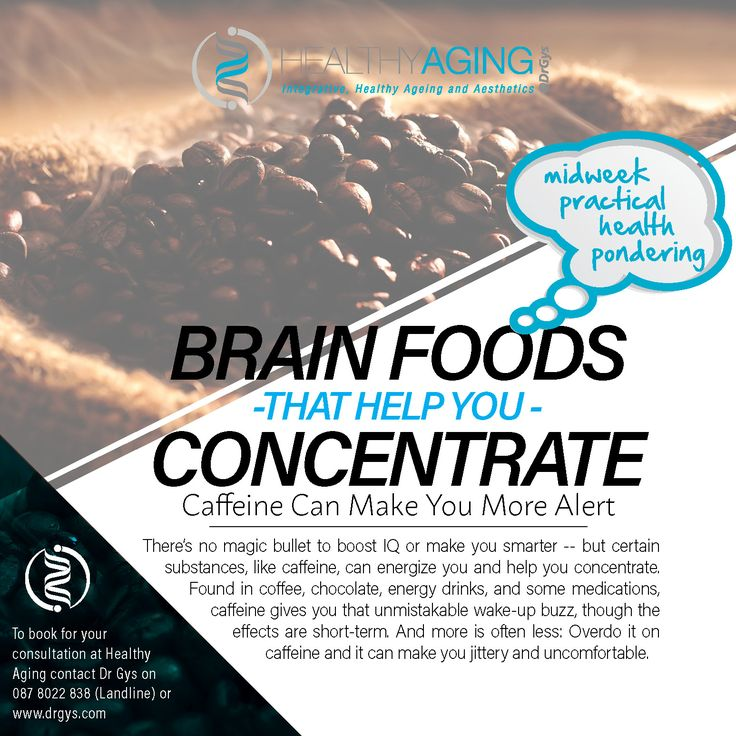 Brain Foods That Help You Concentrate Caffeine Can Make You More Alert There's no magic bullet to boost IQ or make you smarter -- but certain substances, like caffeine, can energize you and help you concentrate. Found in coffee, chocolate, energy drinks, and some medications, caffeine gives you that unmistakable wake-up buzz, though the effects are short-term. And more is often less: Overdo it on caffeine and it can make you jittery and uncomfortable. For more information or bookings contact…