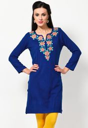 Flaunt sartorial elegance wearing this blue coloured kurta by Aurelia. Look classy and stylish in this piece and revel in the comfort of the soft acrylic fabric. Team it with a salwar or churidar in lighter or brighter hues to create a contrasting effect.