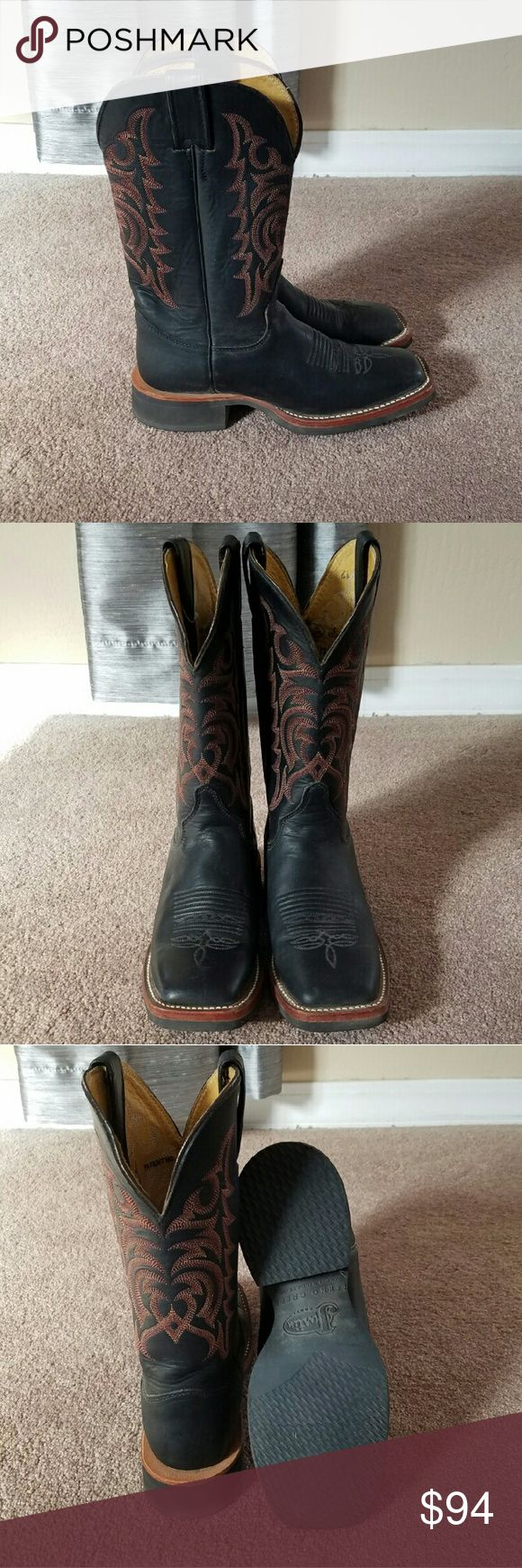 Justin Boots, Size 6.5 B Justin Boots, Size 6.5 B, Black Square Toe, Tekno Crepe Sole, Lightly Worn. Justin Boots Shoes