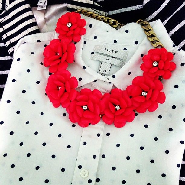 J. Crew Beaded Rose Necklace, Polka Dot Popover, and Schoolboy Blazer in Mixed Stripe