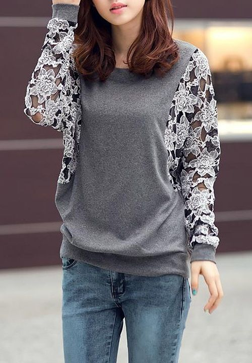 Stylish Round Collar Lace Splicing Floral Pattern Batwing Sleeves Loose-Fitting T-Shirt For Women