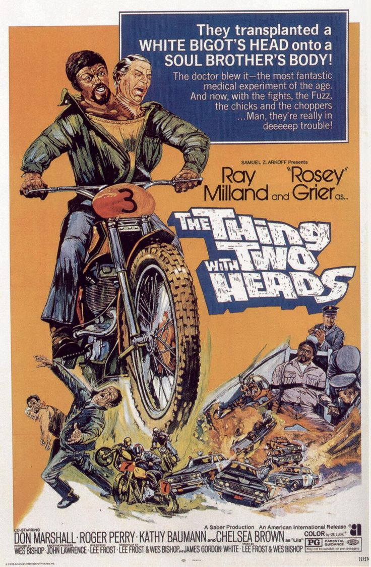 The Thing With Two Heads (1972)  Starring Ray Milland, Rosey Grier,and Rick Baker as the 2-Headed Gorilla