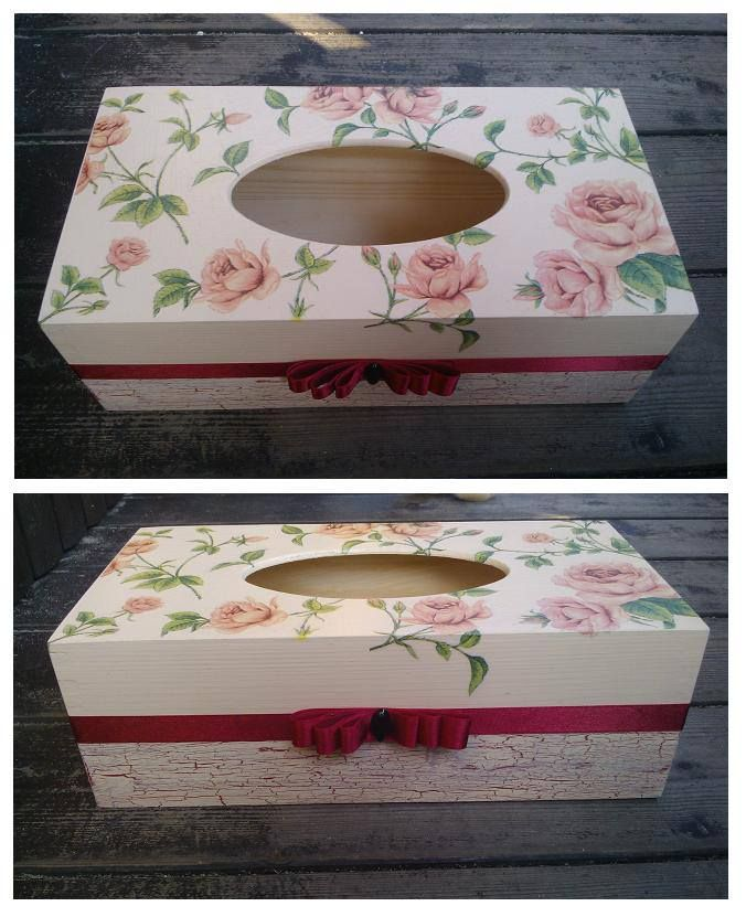 Chustecznik w róże - ozdobiony metodą decoupage :)    więcej na mojej stronie na fb (DecoupageGallery) zapraszam! :)