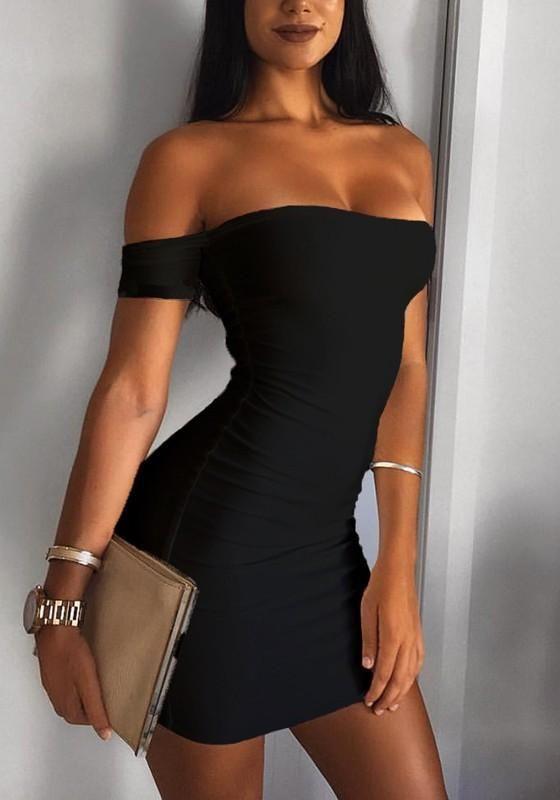 Casual Black Boat Neck Short Sleeve Slim Mini Dress 9