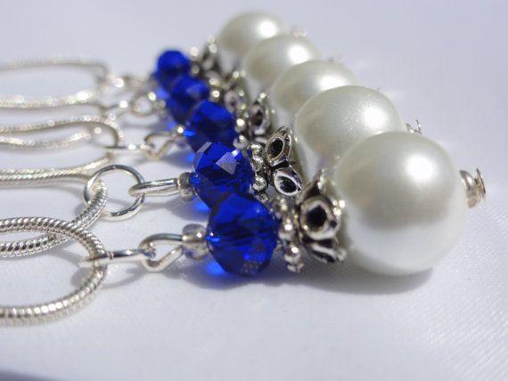 5  Pearl Necklaces  Bridesmaid Jewelry   by StunningGemsJewelry