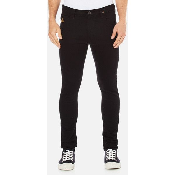 Vivienne Westwood Anglomania Men's Drainpipe Jeans - Black Denim (£90) ❤ liked on Polyvore featuring men's fashion, men's clothing, men's jeans, black, mens skinny jeans, mens stretch skinny jeans, mens leather skinny jeans, mens stretch jeans and mens leather jeans