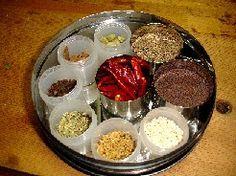 スパイス spice スパイスの扱いは次の3種類あります。   ①テルグ語でターリンプ(英語でテンパリングとかスターターとか)。油にホール・スパイスをはじかせて香りをだすもの。スパイスの香りの付いた油で野菜炒めをする中華料理の感覚。   ②マサラ。ホール・スパイスをグラインドしたものを調合するか、または調合したホールスパイスを加熱・グラインドして作るパウダーorペースト。主にグレービーに野菜が絡んでるような料理や、汁物に用いられる。   ③ガラム・マサラ。基本的には菜食料理にはほとんど使わないので、ここでは説明はひとことだけ。クローブ、カルダモン、シナモンの3種の神器に、他のスパイスを調合し、ホールのまま乾煎りしたものをグラインダーで粉にして保存。家庭や料理の種類により無数のガラム・マサラがある。