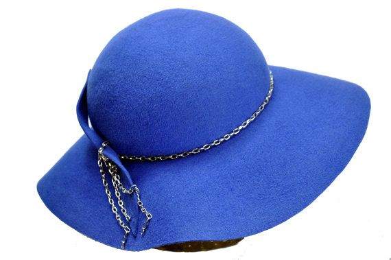 Gabriela Wool Felt wide brimmed hat in Blue by SOHODA on Etsy