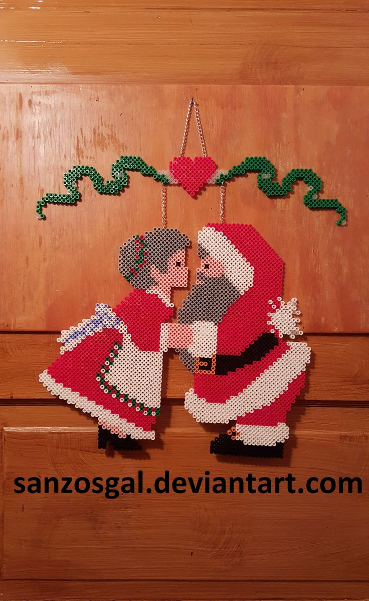 Santa & Mrs door hang perler beads (finished) by sanzosgal