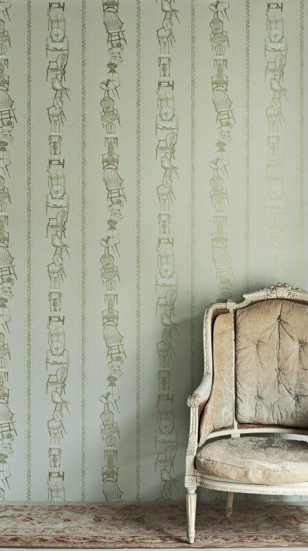 Chairs Wallpaper Eau de Nil by Barneby Gates