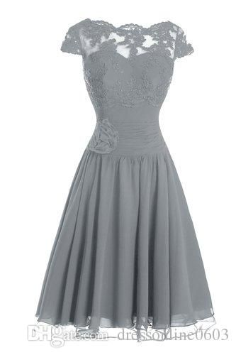 Modest Bridesmaid Gown Gray Chiffon Lace Capped Sleeves Dress For Brides Maid Handmade Flower Corset Bow Real Short Evening Party Dresses After Six Bridesmaid Dresses Aqua Bridesmaid Dresses From Dressonline0603, $94.22| Dhgate.Com