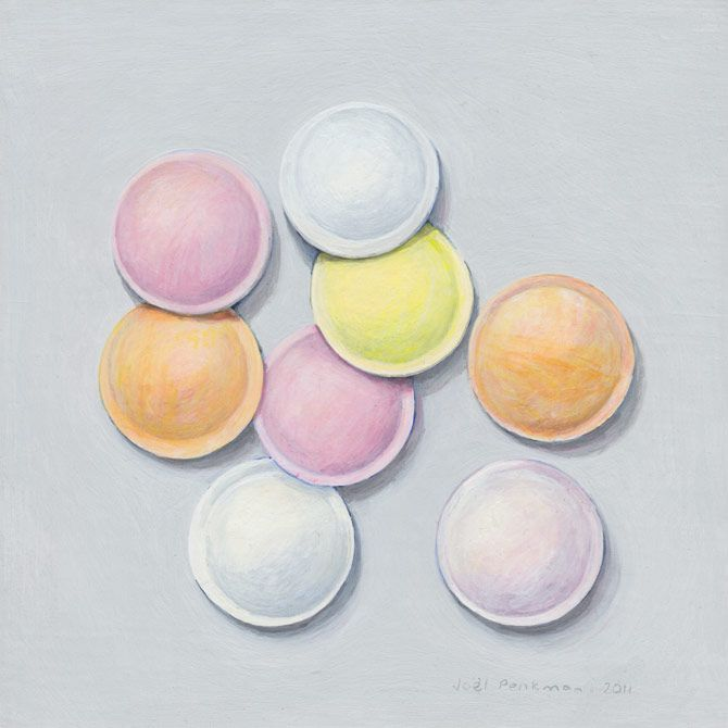Joel Penkman, Sweets - Flying saucers, Egg tempera on gesso board