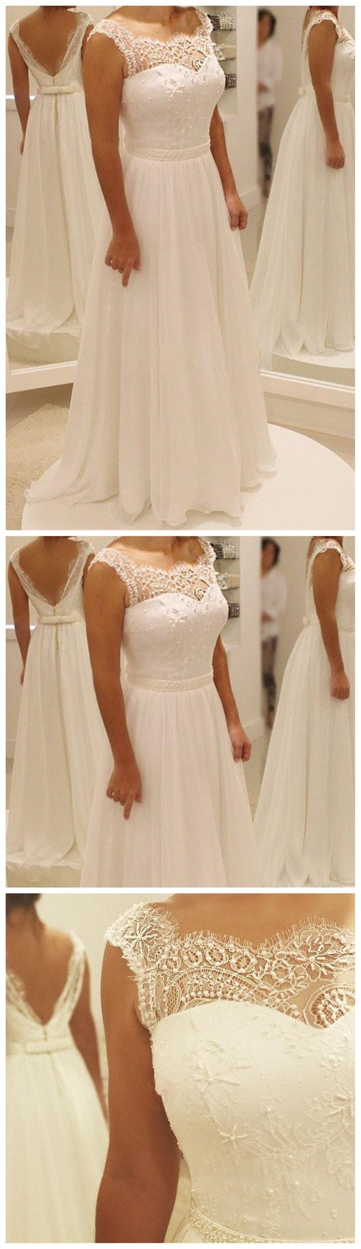 Elegant Sheath Lace Beach Wedding Party Dresses, Popular Bridal Gown, WD0096 [this is cute and simple!]