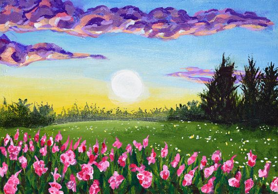 Spring Landscape Original Acrylic Painting 10 In 2020
