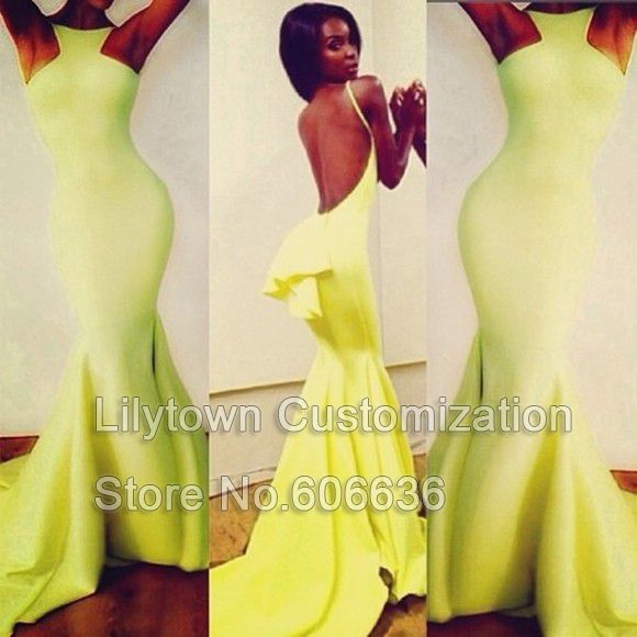 Custom Made Mermaid Bodycon Sexy Evening Dress Long Backless Open Back  Special Occasion Free Shipping Party