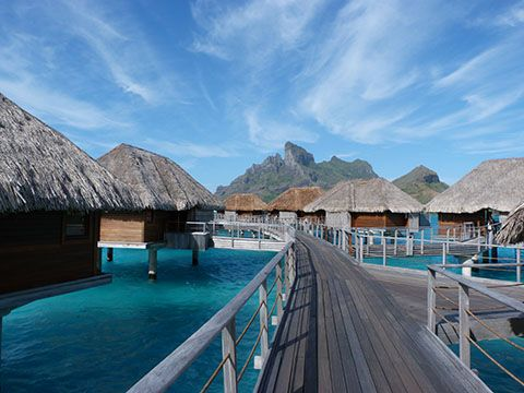 The seriously awesome view from my Four Seasons overwater bungalow in Tahiti