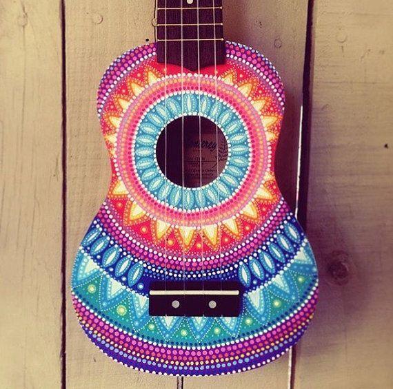 Hand painted dottilism mandala ukulele by SaltyHippieArt on Etsy