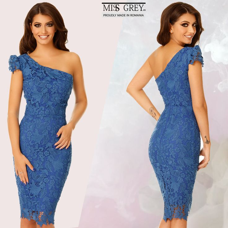 Be this summer's sensation wearing a bodycon dress made from fine lace in a deep shade of blue.