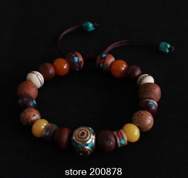 BB-139 Master Design-Tibet colorful beaded bracelet,Nepal brass beads bracelet strech
