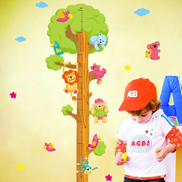 Aliexpress.com: Comprar Niños Tabla de Medida Medida de Cinta Pegatinas de Pared Animal Natural Árbol Vinilo Wallpaper Casa Adhesivos Decorativos Extraíble de child height fiable proveedores en Zhixian Electronic Commerce Co., Ltd