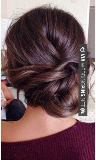 Side Bun Wedding Hair Bridesmaid hair idea- Wedding updo sidebun