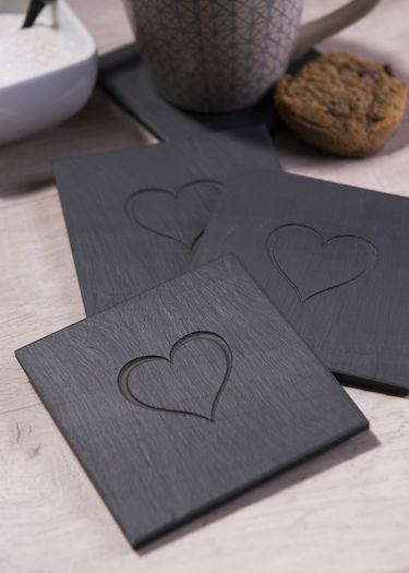 Heart engraved slate coasters