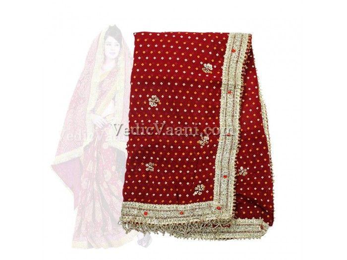Bandhani Dupatta Chunri with Fancy Border, Vedicvaani.com  Wedding dupatta for bride, Altar chunri, Bridal Dupatta, Marriage Chunri, we are wholesaler alter cloth.