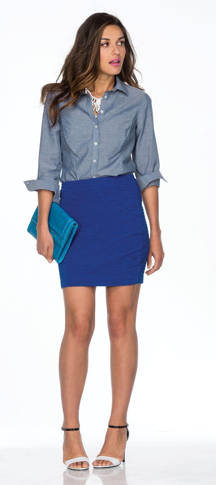 Ricki's: 10 Items 10 Ways - love the shirt dressed up with a skirt, but maybe too much blue on blue for me?