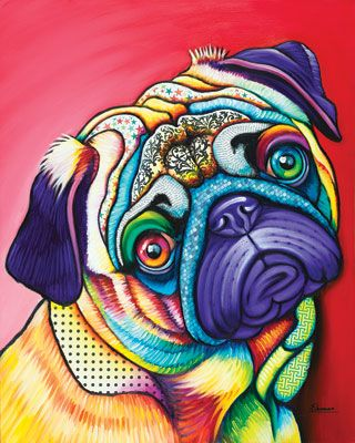 Animals   The Artwork of Steven Schuman....Pug ...too cute!  www.petswithstyleboutique.com