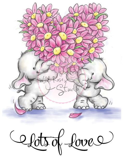 Elefantinhos Carregando um Coração de Flores