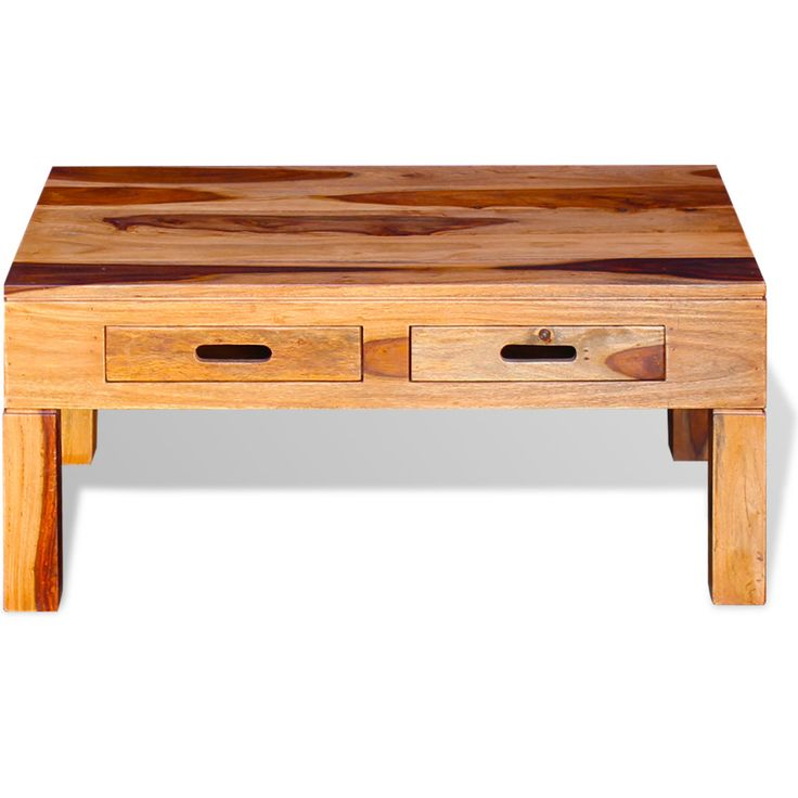 Brown Coffee Table Solid Sheesham Wood Drawers Handmade Living Room Furniture