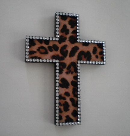 Hey, I found this really awesome Etsy listing at https://www.etsy.com/listing/111729841/animal-print-bling-wall-cross