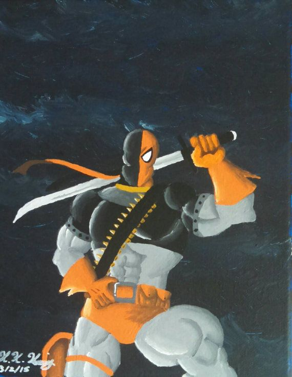 8x10 Deathstroke: The Terminator Painting by IndyRiotArt on Etsy