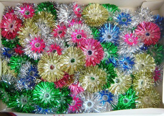 Vintage Christmas Tinsel Light Covers - I love these, my mom used to have these when we were kids, wish I could find some covers