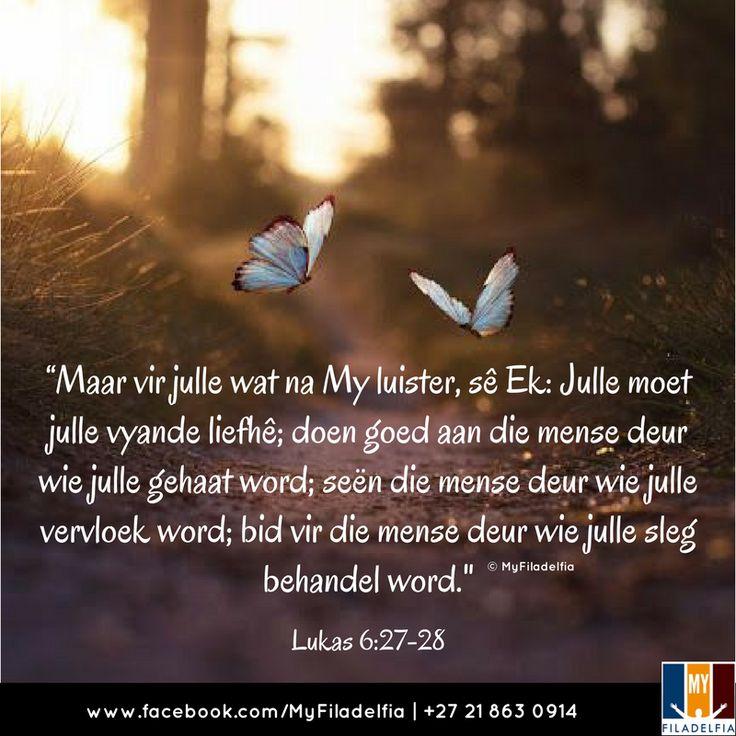 """""""Maar vir julle wat na My luister, sê Ek: Julle moet julle vyande liefhê; doen goed aan die mense deur wie julle gehaat word; seën die mense deur wie julle vervloek word; bid vir die mense deur wie julle sleg behandel word.""""(Lukas 6:27-28)"""