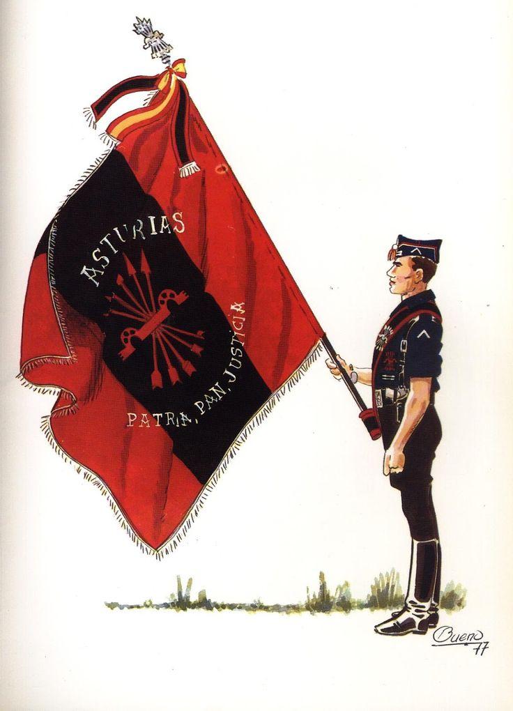 Spain - 1937. - GC - Falange Española. Bandera de Oviedo.