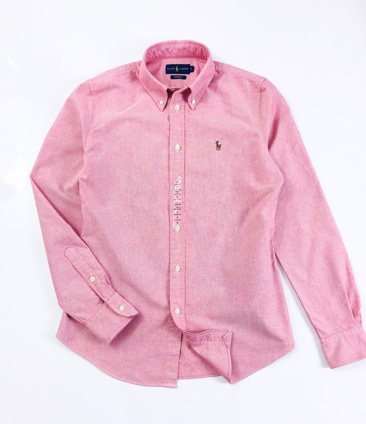 BNWT Ralph Lauren Women's Oxford Shirt Medium Pink Solid Custom Fit Long Sleeve  | eBay